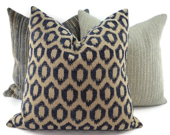 Blue & Tan Woven Ikat Throw Pillow Cover, Navy and Tan Ikat, Indigo Ikat Pillow Cover, 20x20