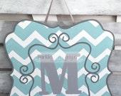 Spring Door Hanger: Last Name Initial Door Hanger - Chevron Monogram Sign - Mother's Day Gift Housewarming Gift Assisted Living Door Hanger