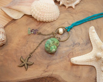 Boho Chic Summer Necklace, Mermaid Necklace, Beach Seashell necklace, Pearl necklace, Starfish Necklace, Green and Turquoise, Mediterranean