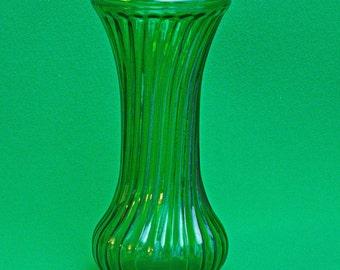 Vintage Hoosier Glass 8-Inch Green Art Glass Flower Vase
