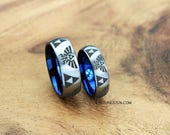 6MM And 8MM Brushed Silver Tungsten LEGEND Of ZELDA Wedding Set With - Blue Interior, FREE Inside Engraving