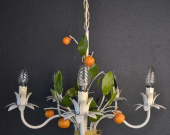 Beautiful toleware flower chandelier with tangerines