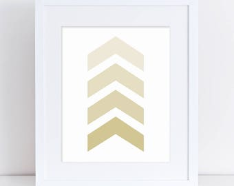 Chevron Printable Art, Gold Arrows, Gold Nursery Art, Nursery Art Print, Gender Neutral Nursery, Nursery Digital Art, Digital Download