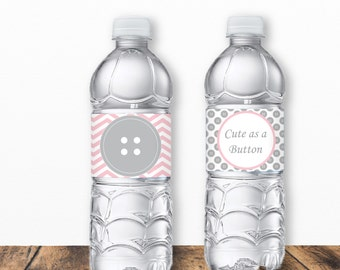 Cute as a Button Water Bottle Labels, Sew Cute, Button Baby Shower, Button Birthday, Printable PDF, Button Water Bottle, INSTANT DOWNLOAD