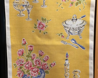 Yellow Kitchen Towel, Linen, Roses, 1950's Glassware, Lamont