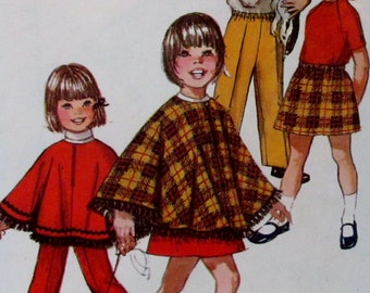 Vintage 1971  Simplicity Girls Skirt, Pants and Poncho Jiffy  Pattern #9531 Size 2