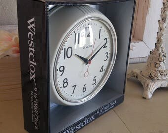 Old vtg style Westclox wall clock white still in the original package Schoolhouse Jewelers