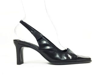Vtg 90's Black Leather Minimalist Slingback High Heels SZ US 6 Eur 36 37 UK 4