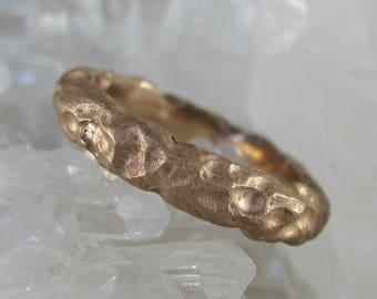 Custom made handmade rough luxe rose gold plated sterling silver men's women's unisex wedding ring, unique handmade wedding band, gold ring.