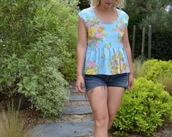 Summer peplum top, smock top, cotton top vintage fabric, blue, floral print