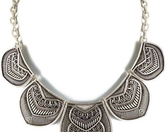 Silver Costa Tribal Metal Linked Bohemian Statement Necklace