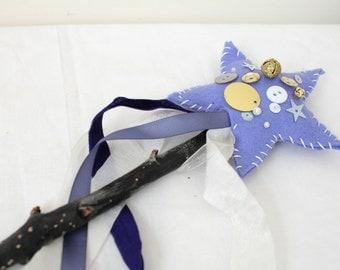 Enchanting Bohemian Wool Felt Fairy Wand for Make Believe- Whimsical - Magical - Rustic - Princess - Fairy Godmother - Imagination