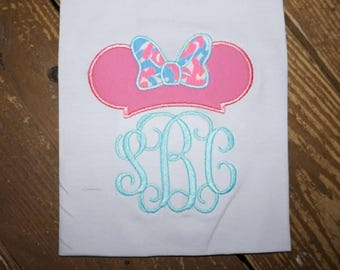 Minnie Mouse Hat with Bow Design Applique Frame File for Embroidery Machine Monogram Instant Download wear to Disney to see Mickey