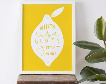 """Kitchen Lemon Print 8x10"""" - home decor print - yellow lemon art - typographic print"""