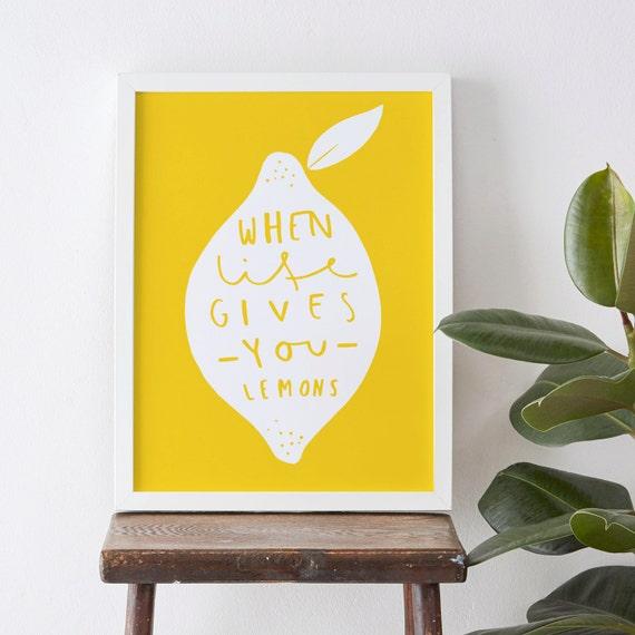 Kitchen Lemon Print 8x10 home decor print yellow