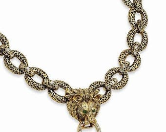 Jackie Kennedy Lion Necklace with Crystal Accents