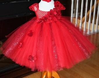 Clearance -- Red glitter Hydrangea Tutu dress with Headband