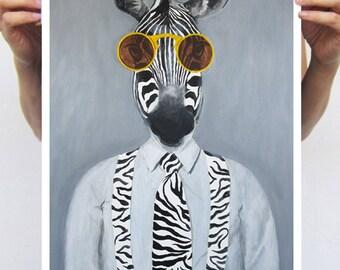 Zebra Poster, zebra print, zebra decor, holiday gift, christmas gift, Coco de Paris, Art Print Poster A3