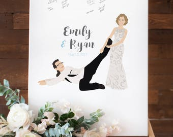 Funny Wedding guest book Sign with Bride dragging Groom, Canvas guest book sign for Fun Wedding Guest Book