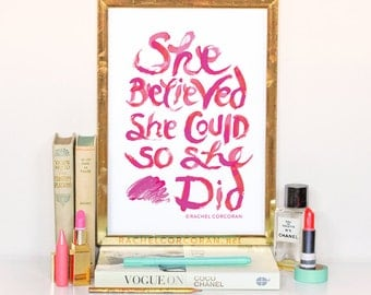 She Believed She Could So She Did - Typographic Print - Hand Lettering - Dorm Decor - Pink - Lipstick - Inspirational Art