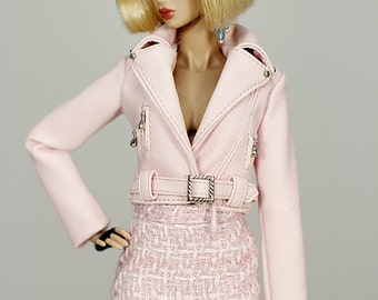 ELENPRIV pale pink leather jacket for Fashion royalty FR2 and similar body size dolls