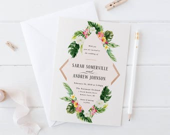 Printable Tropical Wedding Invitation Set,Destination Wedding Suite,Summer Beach Wedding Invite,Botanical Flowers Leaves,Hawaiian Wedding