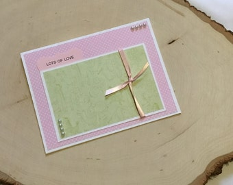 Baby Girl Card, Lots of Love, New Baby Card, Congratulations Baby Card, Handmade Baby Shower Card