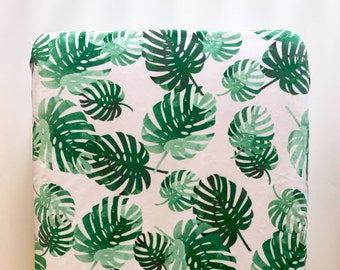 Tropical palms crib sheet - emerald green mint palm fronds leaves - tropical nursery - watercolor gender neutral girl - baby shower gift