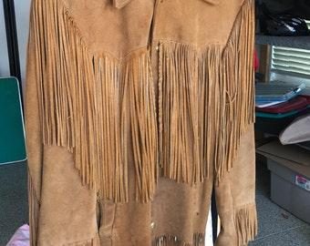 Vintage 70's Men's Medium Fringe Suede Coat