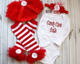 CANDY CANE CUTIE-Red and White-Christmas Bodysuit SeT-Ruffled Leg Warmers, Red and White Stripe-Leg Warmers-Shabby Chic-1st Christmas-girl