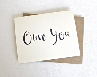 Unique Love Card - Olive You handmade card and kraft envelope, wedding card anniversary card, I love you card for girlfriend/boyfriend