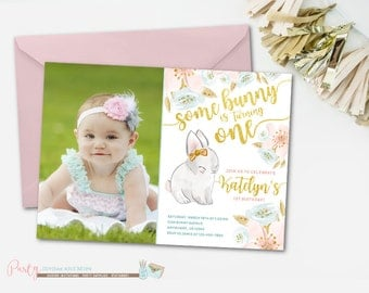 Bunny Birthday Invitation, Some Bunny Is Turning One, Some Bunny Invitation, Some Bunny Birthday Invitation, Bunny Invitation, Spring