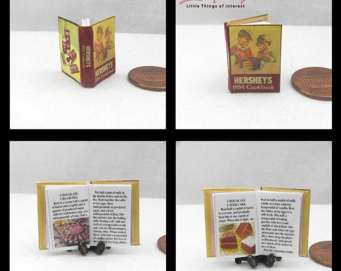 1:12 Miniature Dollhouse HERSHEY CHOCOLATE COOKBOOK Downloadable Miniature Book Cook Book Download Print Kitchen Recipe Dessert Food