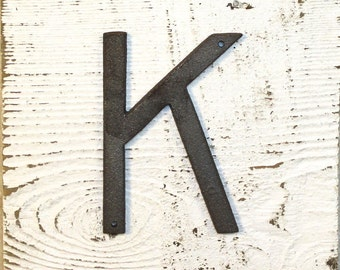 K - 5 Inch Cast Iron Metal Letter K - WITH DRILL HOLES for Mounting
