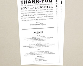 Wedding Reception Menu and Thank You Card Combo - Wedding Menu Card - Thank You Menu Card - Custom Colors Available