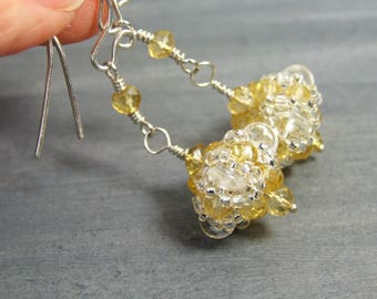 Sterling Silver Citrine Earrings Yellow Gemstone Earrings Special Occasion Jewelry Quartz Crystal Jewelry Handmade Unique Gifts for Women