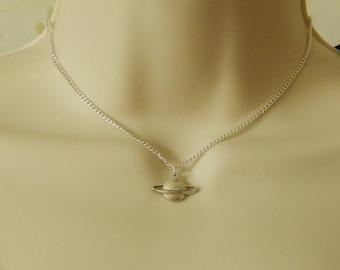 Silver Planet Charm Necklace, Planet Charm Pendant, Silver Planet Charm, Saturn Charm Necklace, Silver Charm Pendant