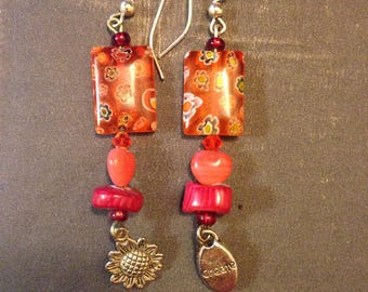 "Coral and silver ""create"" earrings"