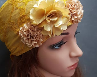 Yellow Head Scarf , Floral Head Scarves , Snood , Hair Covering , Tichel , Head Covering , Yellow Head wrap , Chemo Headwear