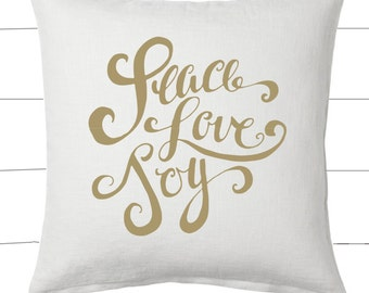 Gold and White Peace Love Joy Christmas Pillow and Insert Christmas Decoration Christmas Saying Holiday Pillow Red White Christmas