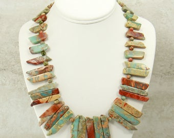 African Opal Jewelry Set w/earrings, Statement Necklace , Gemstone Beaded Necklace, Bib Necklace, Unique Artisan Jewelry, Boho Necklace