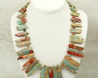African Opal Necklace, Handmade Statement Necklace, Opal Gemstone Necklace, Bead Necklace, Jasper Gemstone Jewelry Set w/earrings