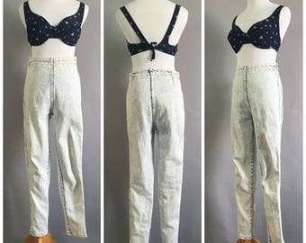 Size Medium Vintage 80s High Waisted Hot Pants Acid Wash Skinny Jeans Denim Traffic Jeans Pants Tapered Leg Punk Grunge Rocker Hipster