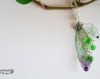Fairy necklace. Fairy wings necklace. Fairy jewelry. Butterfly wings jewelry. Butterfly necklace. Purple wings. Green wings. Fantasy jewelry
