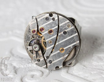 Steampunk Industrial Silver Round Adjustable Ring with Antique 15 jewels Etched Stripe Watch Movement