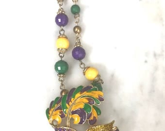 Vintage Colorful Mask Mardi Gras Necklace