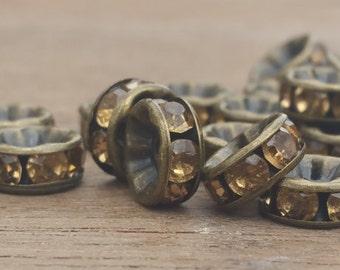 Rondelle Czech Topaz Rhinestone Spacer Beads, copper, topaz rhinestones, Spacer beads, 8mm. Qty. 20 pcs