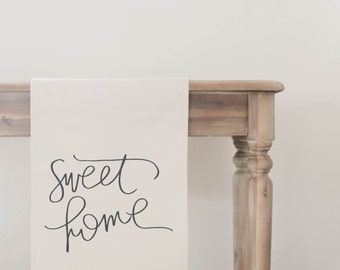 Sweet Home Table Runner, home decor, present, housewarming gift, tablewear, table scene, place setting, set the table