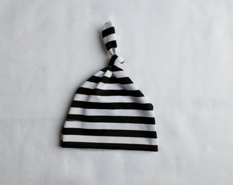 Black and White Striped Top Knot Hat