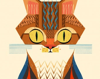 CAT Illustration Print (Frame just for displaying, not included)